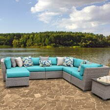 Florence Outdoor Wicker 9 Piece Deep Seating Group with Cushion
