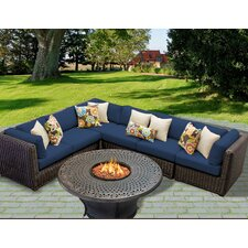 Venice Outdoor Wicker Patio 7 Piece Deep Seating Group with Cushion