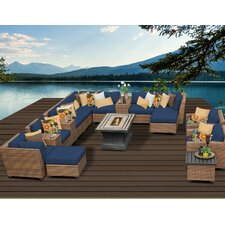 Comparison Laguna Outdoor Wicker Patio 17 Piece Deep Seating Group with Cushion