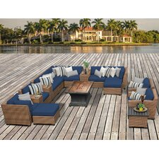 Laguna Outdoor Wicker Patio 17 Piece Deep Seating Group with Cushion