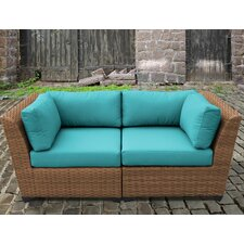 Laguna 2 Piece Outdoor Wicker Patio Lounge Seating Group with Cushion