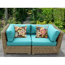 Cape Cod 2 Piece Outdoor Wicker Patio Lounge Seating Group with Cushion