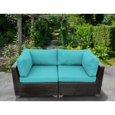 Belle 2 Piece Outdoor Wicker Patio Lounge Seating Group with Cushion