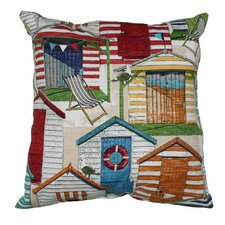 Beachhuts Throw Pillow