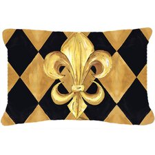 Black and Gold Fleur De Lis New Orleans Indoor/Outdoor Throw Pillow