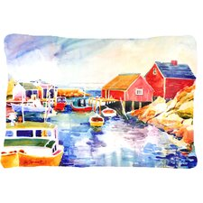 Spacial Price Boats at Harbour with A View Indoor/Outdoor Throw Pillow