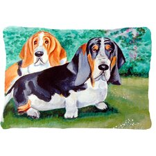 Basset Hound Double Trouble Indoor/Outdoor Throw Pillow