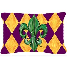 Mardi Gras Fleur De Lis Indoor/Outdoor Throw Pillow