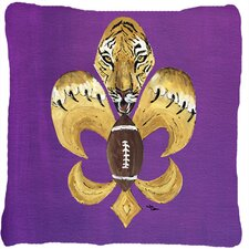 Tiger Football Fleur De Lis Indoor/Outdoor Throw Pillow