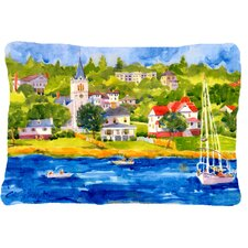 Harbour Scene with Sailboat Indoor/Outdoor Throw Pillow