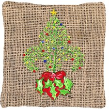 Christmas Tree Fleur De Lis Indoor/Outdoor Throw Pillow