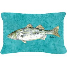 Striped Bass Fish Indoor/Outdoor Throw Pillow