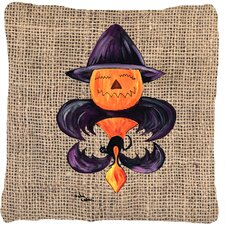 Halloween Pumpkin Bat Fleur De Lis Indoor/Outdoor Throw Pillow