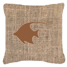 Angel Fish Burlap Indoor/Outdoor Throw Pillow