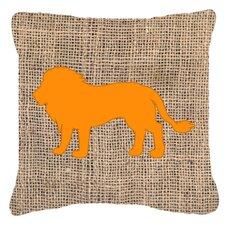 Lion Burlap Indoor/Outdoor Throw Pillow