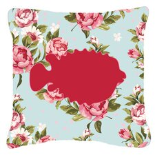 Blowfish Shabby Elegance Blue Roses Indoor/Outdoor Throw Pillow