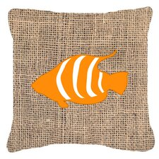 Find Fish Burlap Indoor/Outdoor Throw Pillow