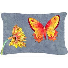 Gerber Daisy and Buttefly Indoor/Outdoor Throw Pillow