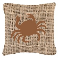 Crab Burlap Indoor/Outdoor Throw Pillow