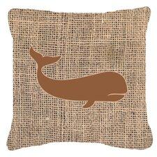 Best  Whale Burlap Indoor/Outdoor Throw Pillow