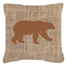 Bear Burlap Indoor/Outdoor Throw Pillow