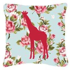 Giraffe Shabby Elegance Blue Roses Indoor/Outdoor Throw Pillow