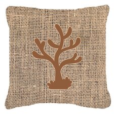 Coral Burlap Indoor/Outdoor Throw Pillow