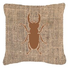 Beetle Burlap Indoor/Outdoor Throw Pillow