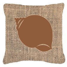 Shell Burlap Indoor/Outdoor Throw Pillow