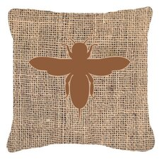 Bee Burlap Indoor/Outdoor Throw Pillow