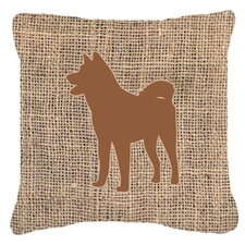 Akita Burlap Indoor/Outdoor Throw Pillow
