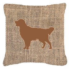 Golden Retriever Burlap Indoor/Outdoor Throw Pillow