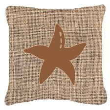 Starfish Burlap Indoor/Outdoor Throw Pillow