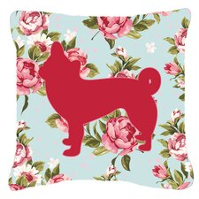 Chihuahua Shabby Elegance Blue Roses Indoor/Outdoor Throw Pillow