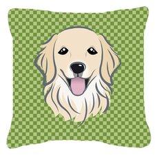 Checkered Golden Retriever Indoor/Outdoor Throw Pillow