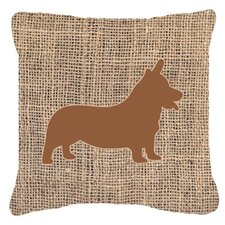 Corgi Burlap Indoor/Outdoor Throw Pillow