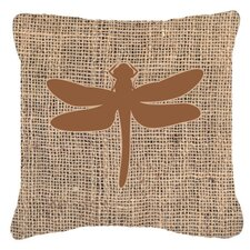Dragonfly Burlap Indoor/Outdoor Throw Pillow