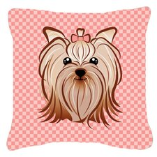 Checkered Yorkie/ Yorkshire Terrier Indoor/Outdoor Throw Pillow