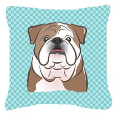 Checkerboard English Bulldog Indoor/Outdoor Throw Pillow