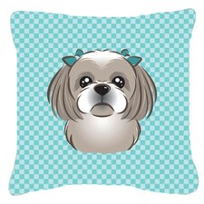 Checkerboard Gray Silver Shih Tzu Indoor/Outdoor Throw Pillow