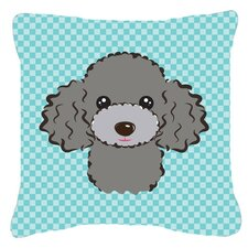 Checkerboard Silver Gray Poodle Indoor/Outdoor Throw Pillow