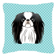 Checkerboard Japanese Chin Indoor/Outdoor Throw Pillow