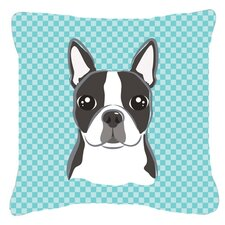 Checkerboard Boston Terrier Indoor/Outdoor Throw Pillow