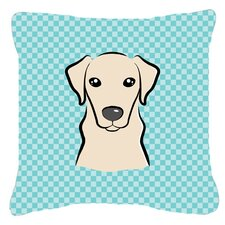 Checkerboard Yellow Labrador Indoor/Outdoor Throw Pillow