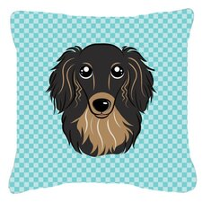 Checkerboard Longhair Black and Tan Dachshund Indoor/Outdoor Throw Pillow