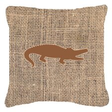 Alligator Burlap Indoor/Outdoor Throw Pillow