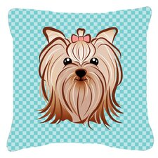 Checkerboard Yorkie Yorkishire Terrier Indoor/Outdoor Throw Pillow