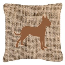 Boxer Burlap Indoor/Outdoor Throw Pillow