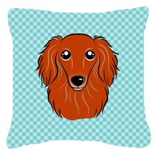 Checkerboard Longhair Red Dachshund Indoor/Outdoor Throw Pillow