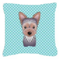 Checkerboard Yorkie Puppy Indoor/Outdoor Throw Pillow